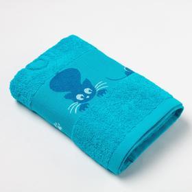 Полотенце махровое с бордюром «Кошки» цвет бирюзовый, 30х60см