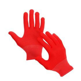 Перчатки, х/б, с нейлоновой нитью, с ПВХ точками, размер 8, красные, «Точка», Greengo