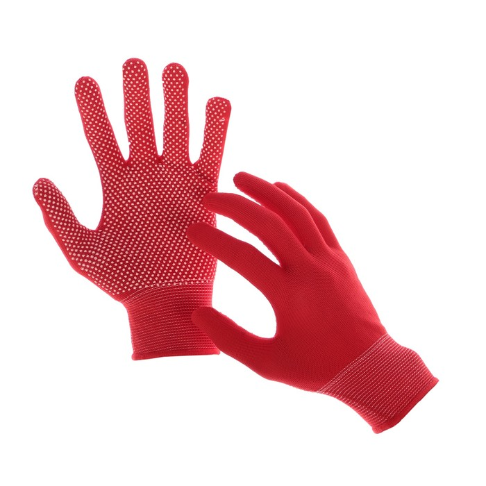 Перчатки, х/б, с нейлоновой нитью, с ПВХ точками, размер 8, красные, «Точка», Greengo - фото 7294