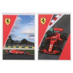 Блокнот А5, 40 листов на гребне Ferrari, картонная обложка, ВД-лак, МИКС