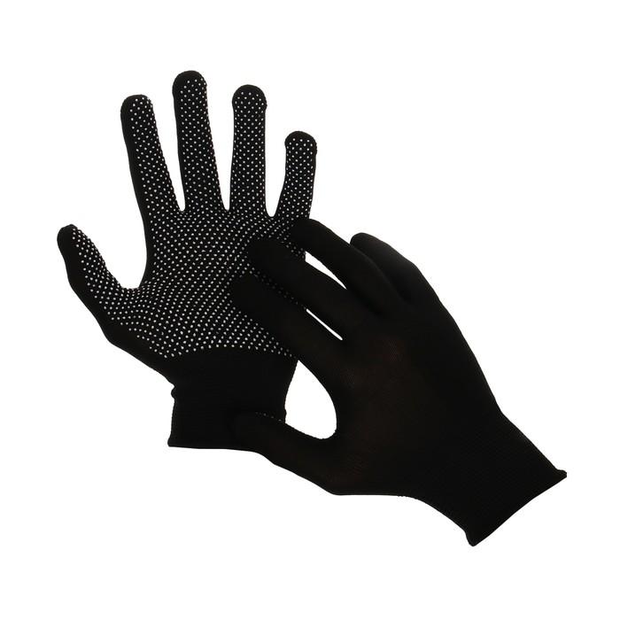 Перчатки, х/б, с нейлоновой нитью, с ПВХ точками, размер 9, чёрные