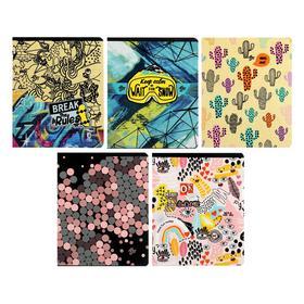 Тетрадь 48 листов в клетку Seventeen-19, обложка мелованный картон, 3D-печать, блок офсет 70 г/м2, МИКС