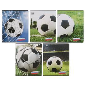 Тетрадь 48 листов в клетку «Мячи на футбольном поле», картонная обложка, блок офсет, МИКС