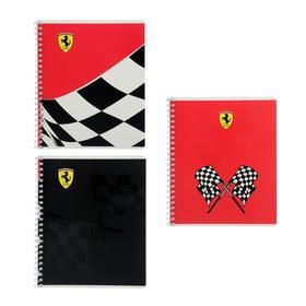 Тетрадь 48 листов в клетку на гребне Ferrari, обложка мелованный картон, двойной УФ-лак, блок офсет, МИКС