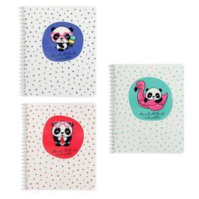 Тетрадь 48 листов в клетку на гребне «Панда», обложка мелованный картон, двойной УФ-лак, блок офсет, МИКС