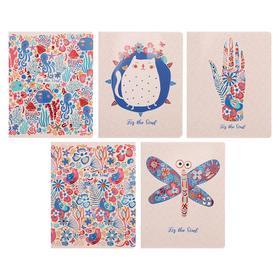 Тетрадь 48 листов в клетку «Узорчатая», обложка мелованный картон, двойной УФ-лак, тиснение фольгой, блок офсет 70 г/м2, МИКС