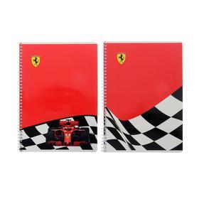 Тетрадь А4, 80 листов в клетку, на гребне Ferrari, обложка мелованный картон, УФ-лак, блок офсет, МИКС