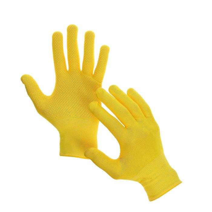 Перчатки, х/б, с нейлоновой нитью, с ПВХ точками, размер 9, жёлтые, «Точка»