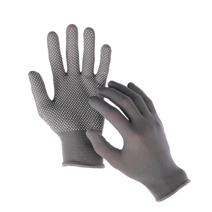 Перчатки, х/б, с нейлоновой нитью, с ПВХ точками, размер 9, серые, «Точка»
