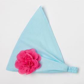 Косынка для девочки, цвет голубой/цветок, размер 50-54
