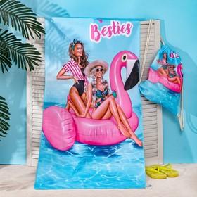 Полотенце пляжное в сумке Этель «Best friends» 70х140 см, микрофибра