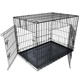 Клетка DogiDom для собак №6 с металлическим поддоном, складная, 121 х 78 х 83 см, черная