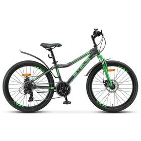 "Велосипед 24"" Stels Navigator-410 MD, V010, цвет черный/зеленый, размер 12"""