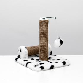 Когтеточка двойная для котят на подставке, джут, 30 х 28 х 32 см, далматинец