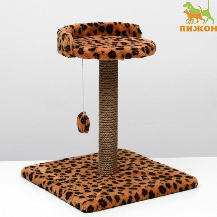 """Когтеточка малая """"Арена"""" с игрушкой, 40 х 40х 55 см, джут, леопард"""