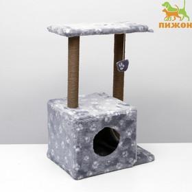 """Домик-когтеточка """"Квадратный двухэтажный с двумя окошками"""", 50х36х75 см, джут, серая с лапка"""
