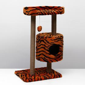 "Домик-когтеточка ""Круглый с площадкой"", 52 х 52 х 105 см, джут, тигр"