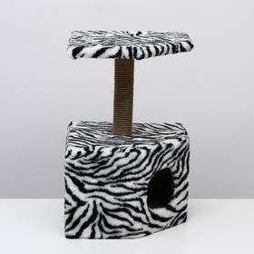 """Домик-когтеточка """"Пятигранный"""", 50 х 40 х 59 см, искусственный мех, зебра"""
