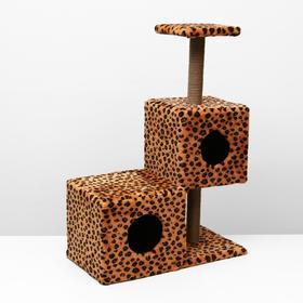 """Домик-когтеточка """"Трехэтажный разноуровневый"""" 66 х 36 х 94 см, леопард"""