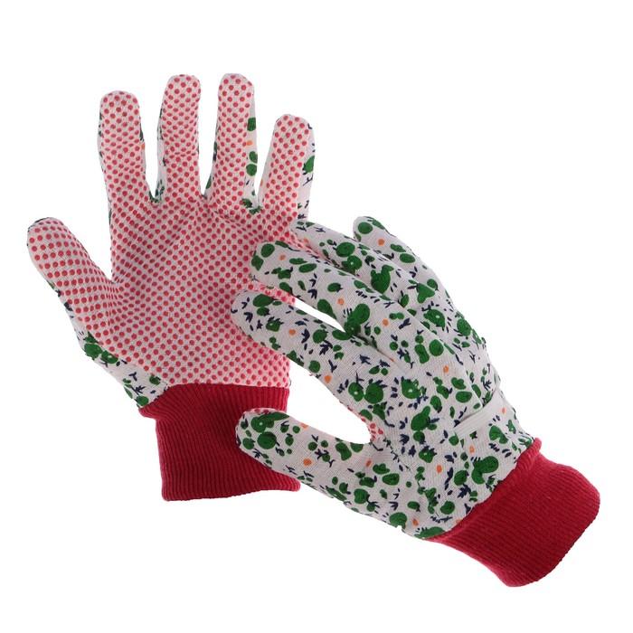 Перчатки текстильные, с ПВХ точками, с усиленной манжетой, размер 9