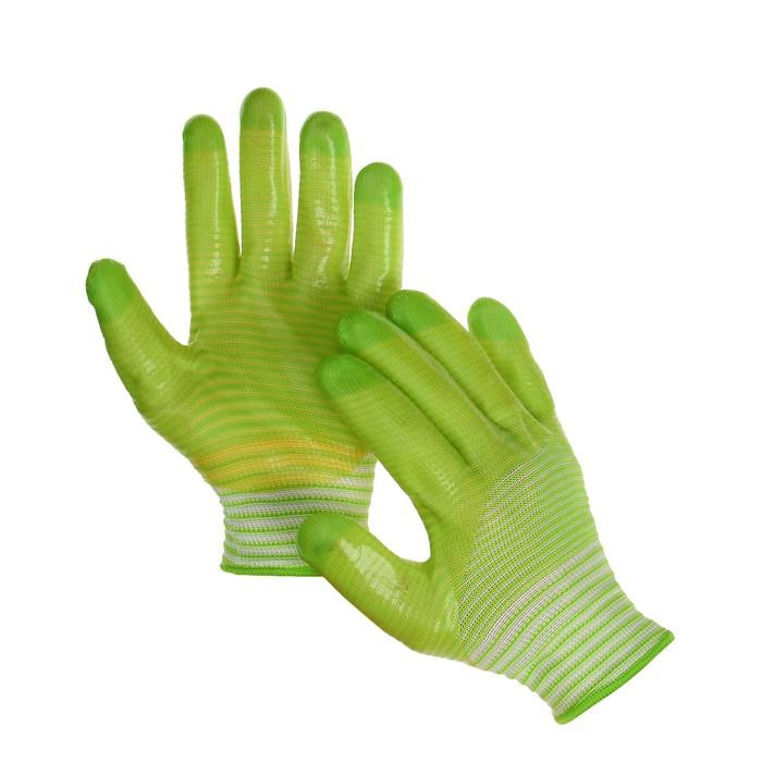 Перчатки текстильные, с PVC пропиткой, зелёные