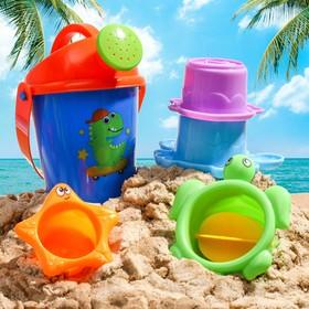 """Набор для купания """"Подводные жители"""": пластиковые игрушки + ведерко"""