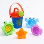 """Набор для купания """"Подводные жители"""": пластиковые игрушки + ведерко - фото 105529329"""