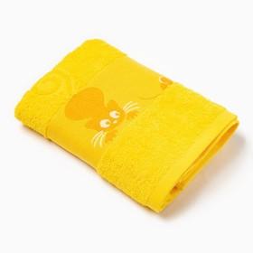 Полотенце махровое с бордюром «Кошки» цвет жёлтый, 50х90см