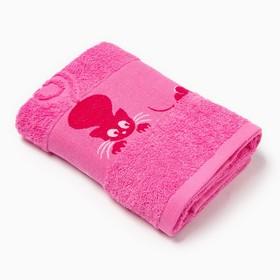 Полотенце махровое с бордюром «Кошки» цвет розовый, 50х90см