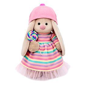 Мягкая игрушка «Зайка Ми» в полосатом платье с леденцом, 32 см
