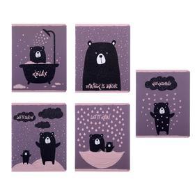Тетрадь 48 листов в клетку «Романтичный мишка», обложка мелованный картон, блок офсет, МИКС