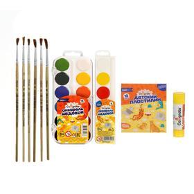 Набор для детского творчества №8 Calligrata (клей-карандаш, набор из 6 кистей, акварель 6 цветов и 12 цветов, пластилин 12 цветов)