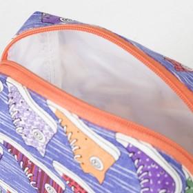 Косметичка дорожная, отдел на молнии, с подкладом, цвет сиреневый - фото 1766308