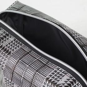 Косметичка дорожная, отдел на молнии, с подкладом, цвет чёрный/белый - фото 1766280