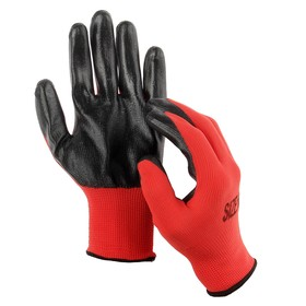 Перчатки нейлоновые, с резиновым обливом, размер 10, чёрно-красные, Greengo