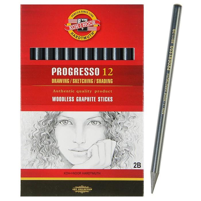 Набор карандашей цельнографитовых 12 штук, Koh-i-Noor PROGRESSO 8911 2B, в картонной упаковке