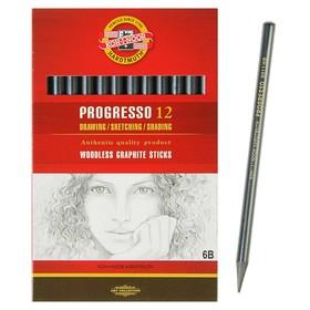 Набор карандашей цельнографитовых 12 штук, Koh-i-Noor PROGRESSO 8911 6B, в картонной упаковке