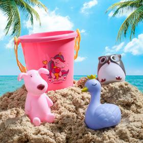 """Набор для купания """"Для принцессы"""": резиновые игрушки + ведерко"""