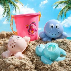 """Набор для купания """"Морские друзья"""": пластиковые игрушки + ведерко"""