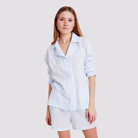 Blouse with collar MINAKU: Enjoy the colors of light blue, R-R 52