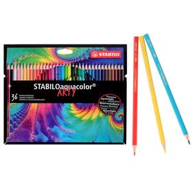 Карандаши акварельные набор 36 цветов, Stabilo Aquacolor Arty