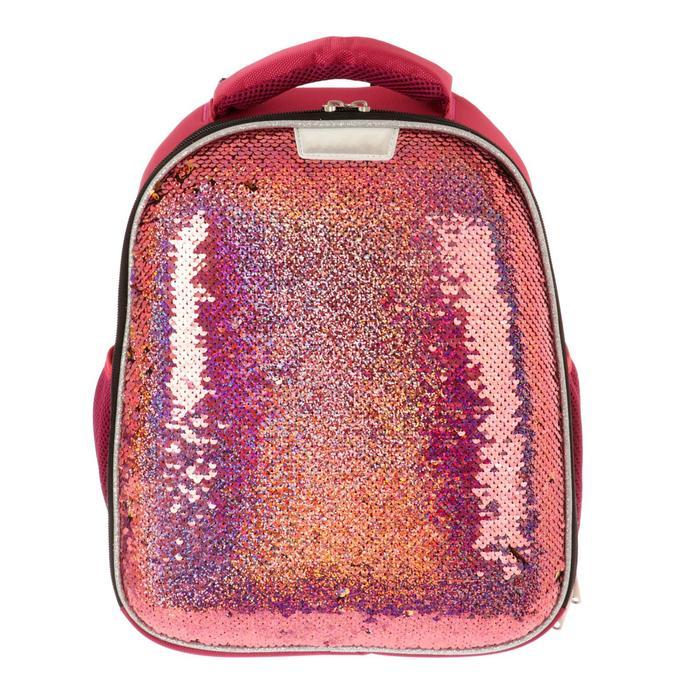 Рюкзак каркасный №1School 36*28*15 дев 2-стор пайетки Sparkle Miracle Pink, ярко-розовый - фото 3958473
