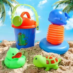 """Набор для купания """"Морской мир"""":  пищалка, резиновые игрушки + лейка"""