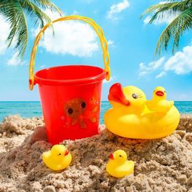"""Набор для купания """"Уточки"""": резиновые игрушки + ведерко"""