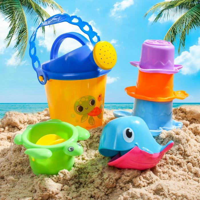 """Набор для купания """"Купаемся весело"""": пластиковые игрушки + ведерко"""