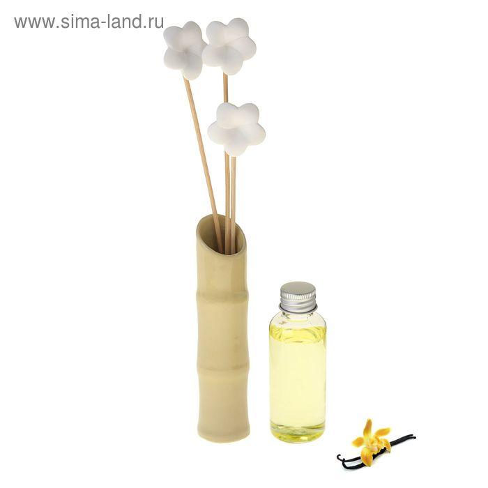 """Подарочный набор """"Де Люкс"""": аромамасло 60 мл, ваза, 3 палочки, 3 цветочка из гипса, аромат ваниль"""