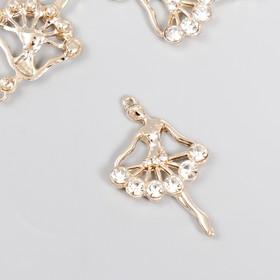 "Decor art metal rhinestones ""Ballerina"" gold 3,4x2,2 cm"