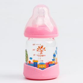 Бутылочка для кормления, стекло, 150 мл., цвет розовый