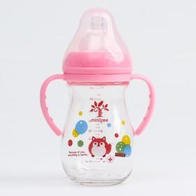 Бутылочка для кормления, приталенная, стекло, широкое горло, 260 мл., цвет розовый