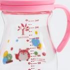 Бутылочка для кормления, приталенная, стекло, широкое горло, 260 мл., цвет розовый - фото 105537278